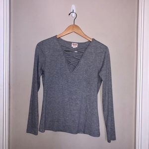 Crossed Front Gray Long Sleeve Top